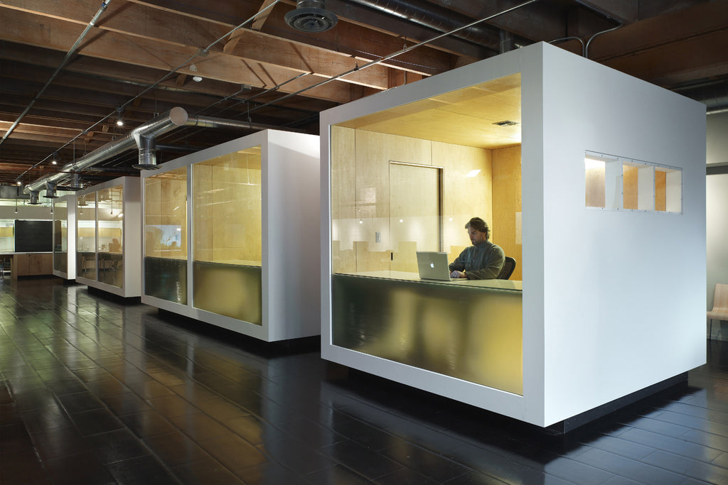 Open plan vs private working spaces vinyl impression for Space office design