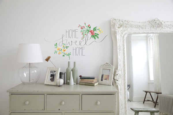Floral home sweet home vinyl wall sticker in Home by Vinyl Impression