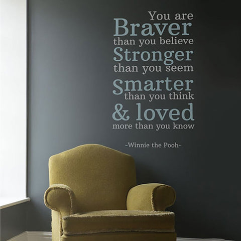 Winnie the pooh wall sticker you are braver than you believe removable wall sticker for childrens bedroom