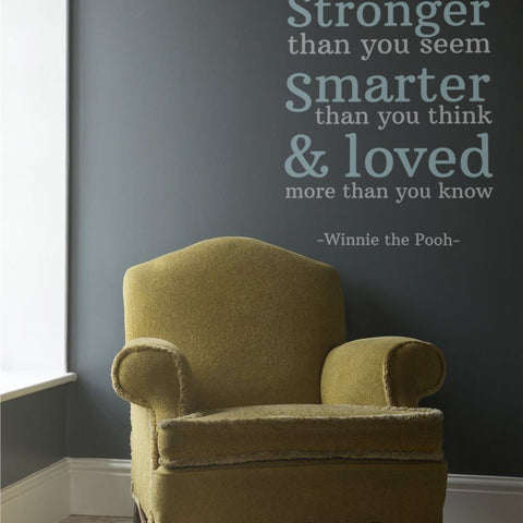 Pooh wall sticker quote braver stronger smarter motivational quote for kids