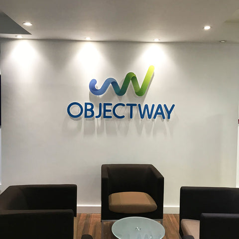 3D Acrylic logo printed with company colours and stand off fixings in office reception