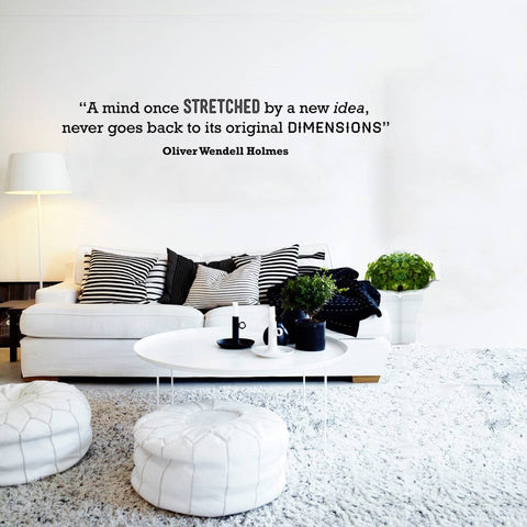 Oliver Holmes quote wall sticker mind once stretched wall decal design