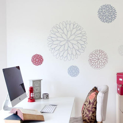 Nature inspired abstract flowers wall sticker decal art for walls and windows. Nature and flower wall decals