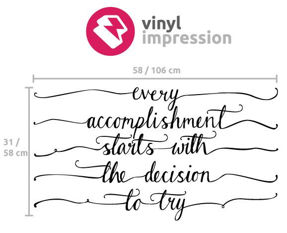 Accomplishment' motivational wall sticker in £10 - £25 by Vinyl Impression
