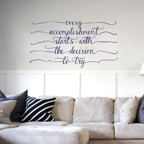 Hand drawn style wall decal and wall art graphics. Motivational quote wall art for home and offices. Wall sticker UK
