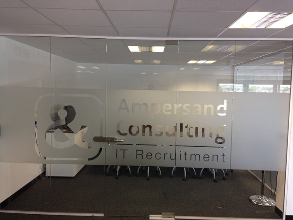 Window Frosted Logo cut-out in Office by Vinyl Impression