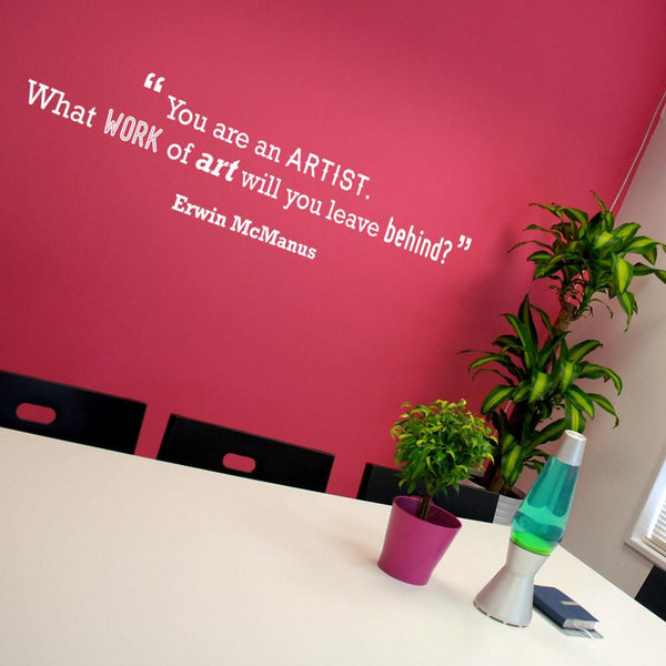 Artist Motivational Quote Wall Sticker in Breakout by Vinyl Impression