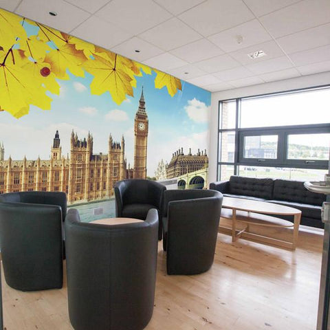 Big Ben wall mural in an office space