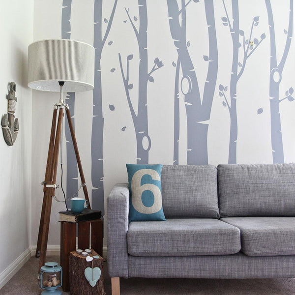 Birch Tree Forest Wall Sticker in Living Room by Vinyl Impression
