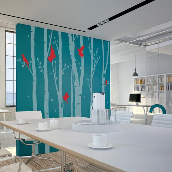 Birch Tree Forest Office Wall Sticker in Breakout by Vinyl Impression