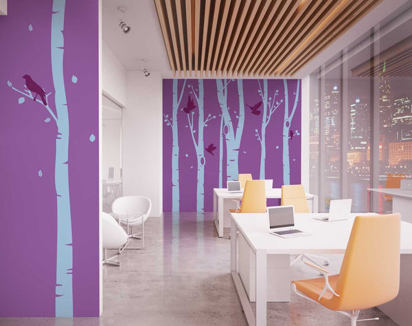 Birch Tree Forest Office Wall Sticker in Nature by Vinyl Impression