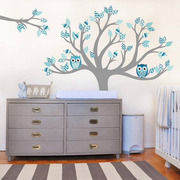 Tree with pattern leaves nautical vinyl impression - Stickers arbre chambre fille ...