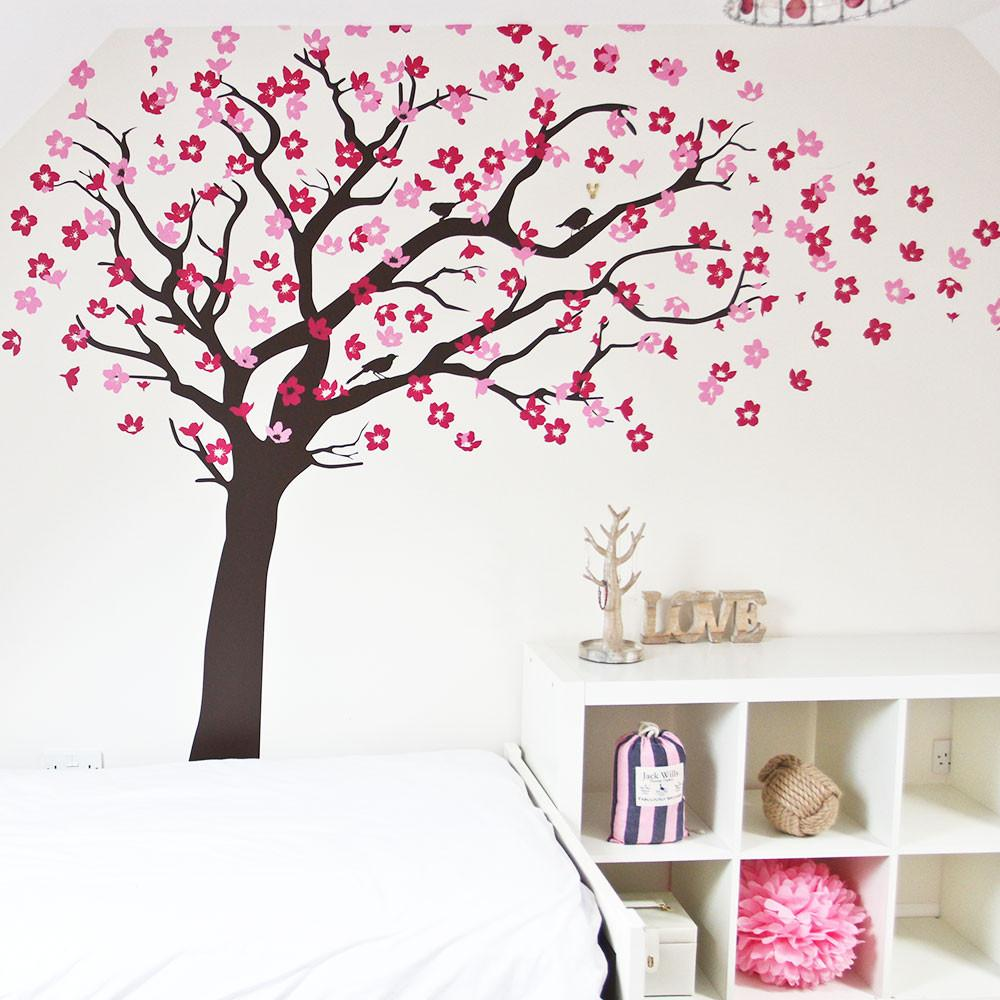Cherry blossom tree with birds wall sticker vinyl impression
