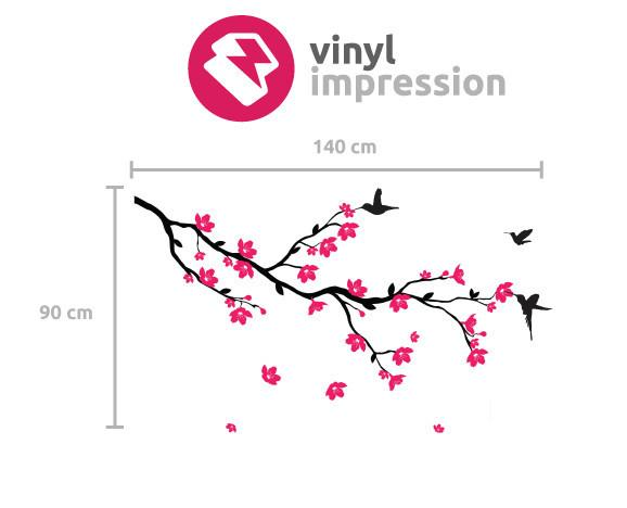Branch with Blossom and Birds Wall Sticker in Nature by Vinyl Impression