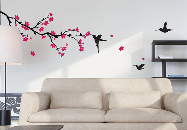 Branch with Blossom and Birds Wall Sticker in  by Vinyl Impression