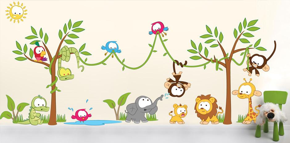 animal wall sticker pack for nurseries and bedrooms tree wall sticker jungle wall sticker zoo wall sticker