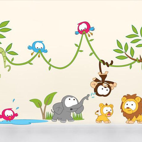 Amazon jungle scene wall sticker decal scene for baby's nurseries and kids bedroom decor.