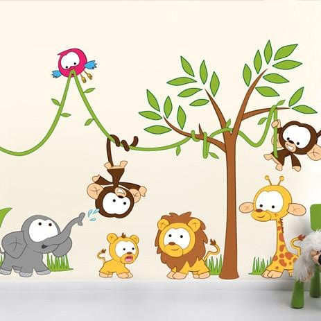 Baby jungle animal characters for children room decor and baby's nurseries. Wall art decals and stickers