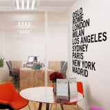 City Names Wall Sticker in  by Vinyl Impression