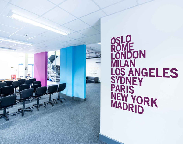 City Names Wall Sticker in Office by Vinyl Impression