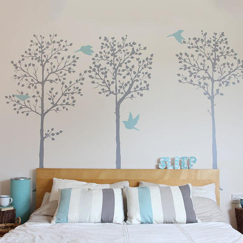 Tall Tree wall stickers perfect for bedroom behind bedboard