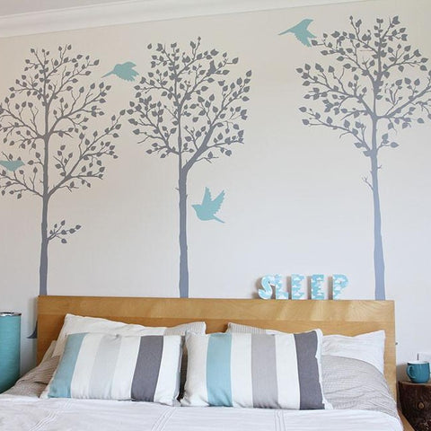 Nautical tree scene in bedroom wall stickers mint and grey