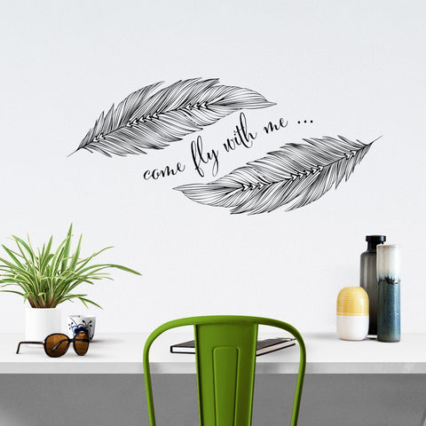 feather and text based typographic wall sticker uk