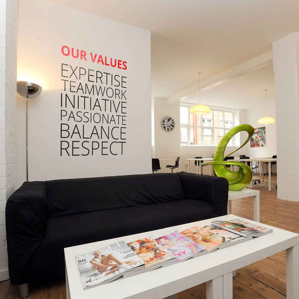 Company Values -Style 2 in Meeting Room by Vinyl Impression