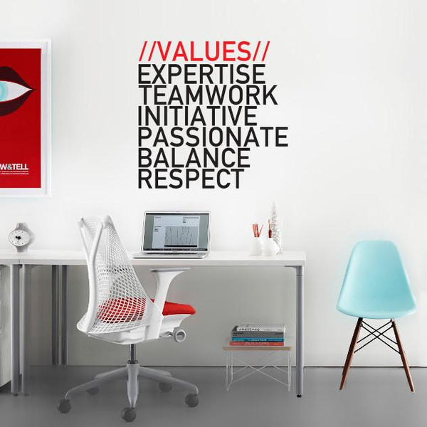 Company Values -Style 1 in Office by Vinyl Impression
