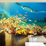 Coral Reef Wall Mural in Living Room by Vinyl Impression