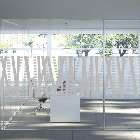 Lines and dashes decorative window film etched glass design