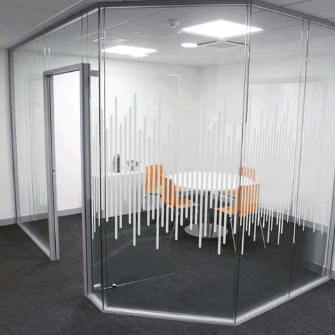 Office window designs in frosted window film for privacy glass partitions for building regulations