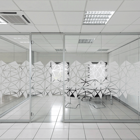 Triangles window design for frosted window film to add privacy to the office glass partitions