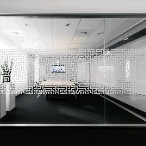 Maze window film for office glass decor and privacy to meet manifestation building regulations