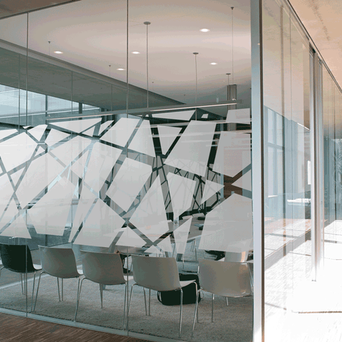 Hexagon window film for office design, contemporary window design