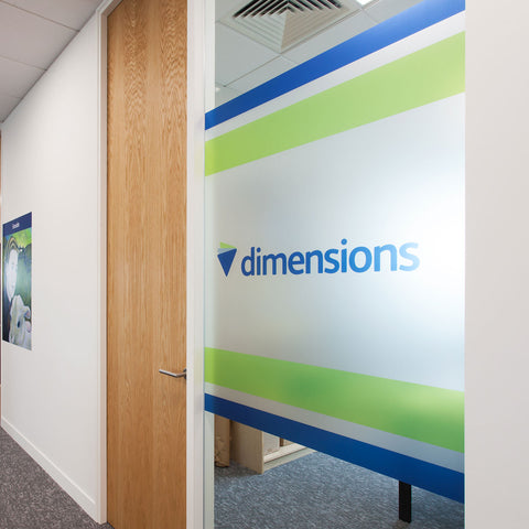 Printed Frosted Logo window Panel - Full colour printed office manifestation window etching