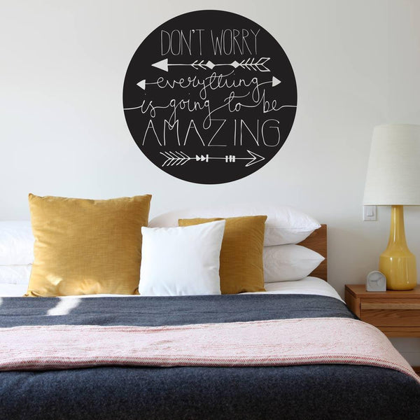 Don't worry!' inspirational wall sticker in  by Vinyl Impression