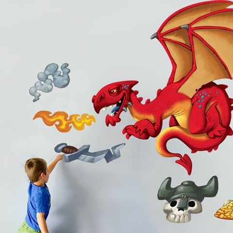 Wall decal and sticker pack of viking and dragons for children's bedrooms