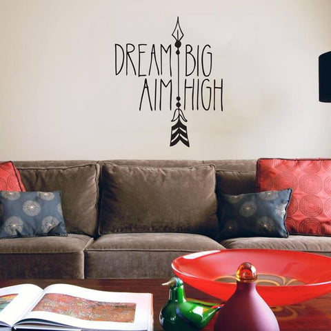 Dream big inspirational hand drawn wall art decal design