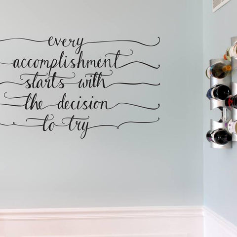 Motivational quote wall sticker decal for home and offices. Hand drawn style wall art for interior design decorating