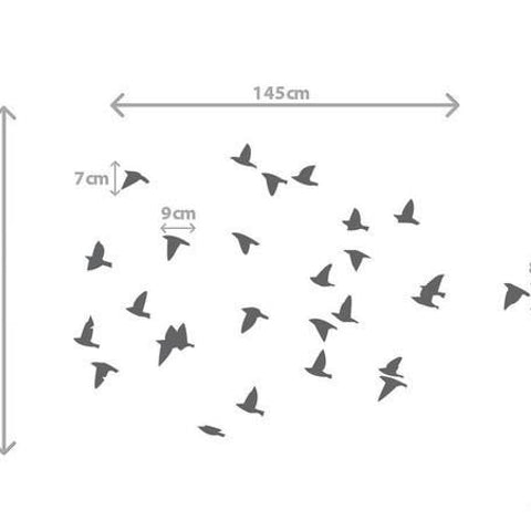 Flock of birds wall sticker decal sizing chart with measurments