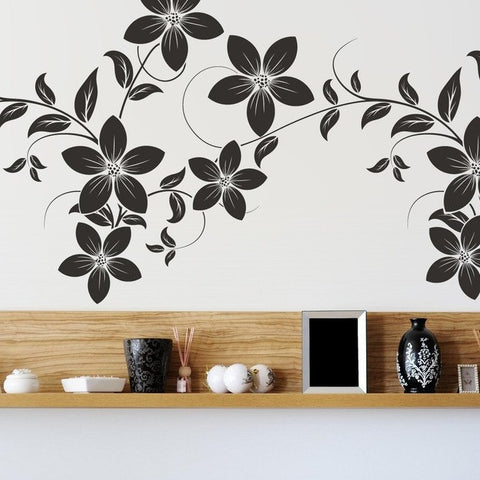 Office Decor - Flowers on a vine Wall Sticker - By Vinyl Impression