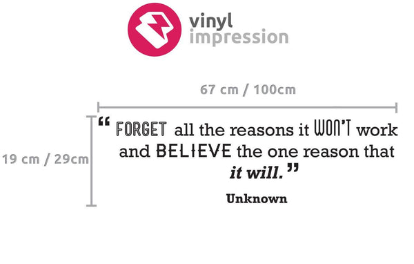 Believe' Motivational Quote Wall Sticker in For Him by Vinyl Impression