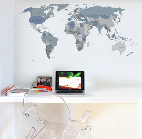 Printed World Map Wall Sticker Grey Scale