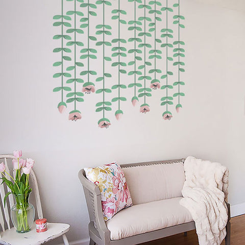 Hanging flowers vinyl wall sticker decal graphic. Wall art for homes and offices