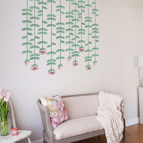 Hanging flower vine wall sticker for home interior design