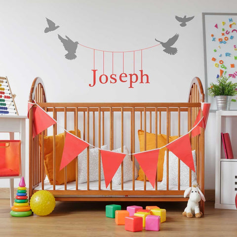 Hanging name wall sticker mock up
