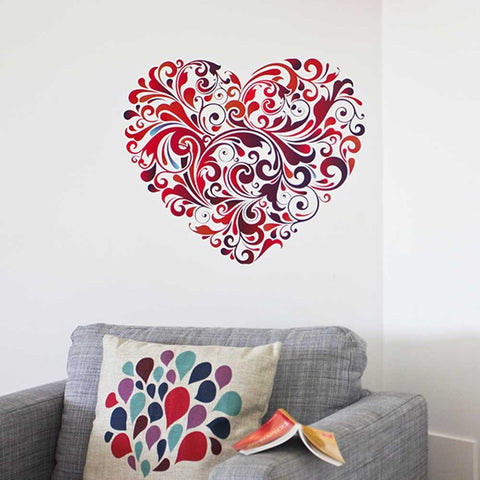 Beautiful pattern of swirls heart wall sticker