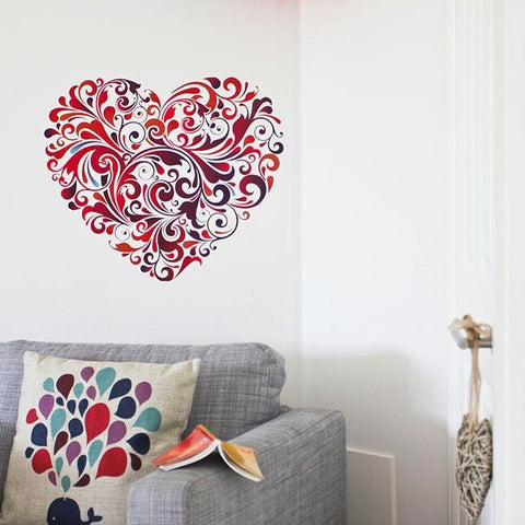 Floral Heart Wall Sticker small for romantic theme