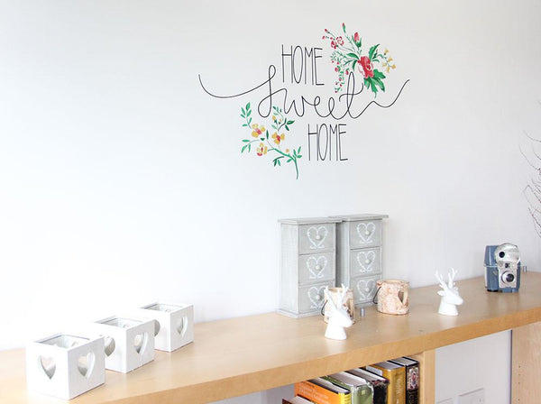 Floral home sweet home vinyl wall sticker in  by Vinyl Impression